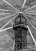 The electric light on top of the Eiffel Tower, Paris, 1889