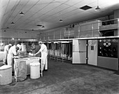 Meat dressing at the Danish Bacon Co, South Yorkshire, 1957