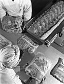 Packing bacon rashers, 1964