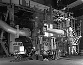Charging an electric arc furnace, 1964