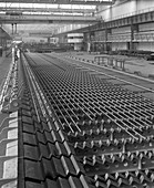 The bar mill cooling beds at the Brightside Foundry, 1964