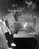 Assembling a bubble chamber, 1964