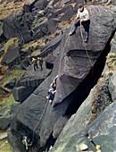 Climbers on Stanage Edge, Hathersage, Derbyshire, 1964