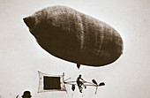 Sky cycle below a balloon, early 1900s