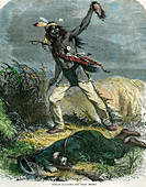Indian scalping his dead enemy, 19th century