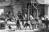 A tea market in Japan, c1880