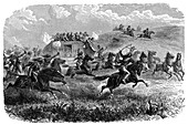 Mail coach attacked by Native American Indians, 1867