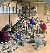 Decorating Awata porcelain ware, Kyoto, Japan, 1904