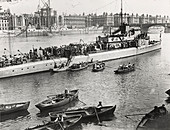 Ship and boats on the River Thames, London, c1913
