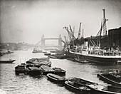 Thames looking towards Tower Bridge, London, c1920