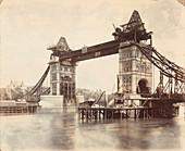Tower Bridge under construction, London, c1893