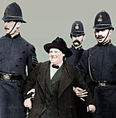 Mrs Flora Drummond, arrested in Hyde Park, London, 1914