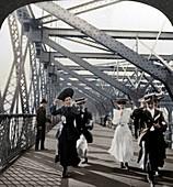 The promenade, Williamsburg Bridge, New York, USA, c1900s