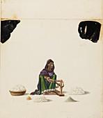 Female cotton ginner, 1840-1850