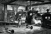 Rolling steel rails, c1880