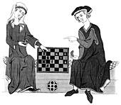 Playing chess, 13th century
