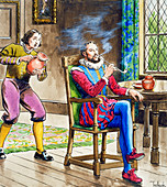 Sir Walter Raleigh smoking a pipe