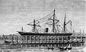 Clark's hydraulic lift, Bombay, c1880