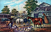American Farm Yard in the Morning', 1857