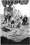 Jews taking blood from christian children, 1849