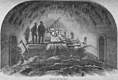 Repair of the Fleet sewer, City of London, 1854