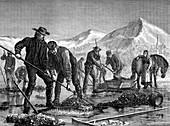 Swedish peasants prospecting for lake ore, c1880