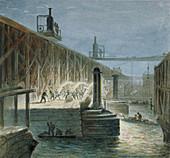 Demolition work on Blackfriars Bridge, London, 1865