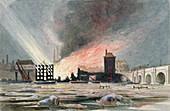 Destruction of warehouse, Blackfriars, London, 1845