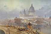 Blackfriars Bridge and St Paul's Cathedral, London, 1840