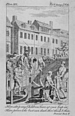 View of the Fleet Ditch with bathers, City of London, 1750