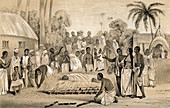 Burning Hindu widow with the body of her late husband, 1847