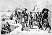 Napoleon Bonaparte inspecting a mummy at the pyramids, 1801