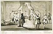 Assembly of Freemasons for the initiation of a Master, c1733