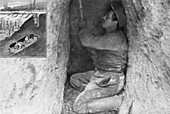 French sapper digging a tunnel, France, 1915
