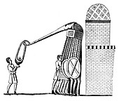 Engine for throwing stones, (1870)
