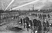 British troops advance, Neuve-Chapelle, France, 1915