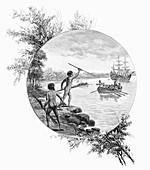 Natives opposing Captain Cook's landing, Australia, 1770