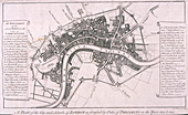 Map of London with English Civil War Fortifications, c1642