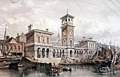 Billingsgate Wharf and Market, London, 1851