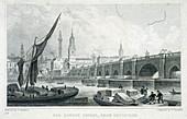 London Bridge (old), London, c1750
