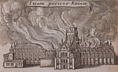 St Paul's Cathedral (old), London, on fire, 1666