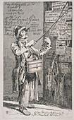 Billposter sticking bills up on a wall, 1815