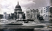 St Paul's showing nearby air raid damage, London, c1941