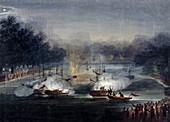 Sham fight on the Serpentine, Hyde Park, London, 1814