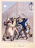 Street fight scene at night, London, 1822