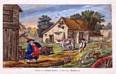 Farmyard in Hendon, in the London borough of Barnet, c1795