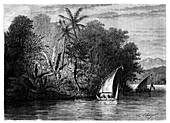 A sight at Celebes, Indonesia, 19th century