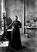 Marie Curie, Polish-born French physicist in her laboratory