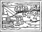 Using astrolabes to calculate the height of a steeple, 1539