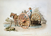 Watering cart for keeping down dust on roads, 1808